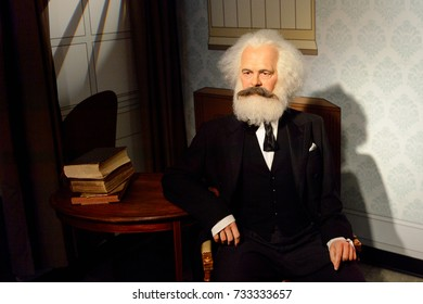 VIENNA, AUSTRIA - OCT 4, 2017: Karl Marx,a German philosopher, economist, political theorist, sociologist, journalist and revolutionary socialist, Madame Tussauds wax museum in Vienna.