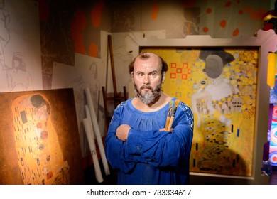 VIENNA, AUSTRIA - OCT 4, 2017: Gustav Klimt, an Austrian symbolist painter, Madame Tussauds wax museum in Vienna.