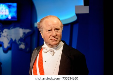 VIENNA, AUSTRIA - OCT 4, 2017: Bruno Kreisky, an Austrian politician who served as Foreign Minister and as Chancellor, Madame Tussauds wax museum in Vienna.