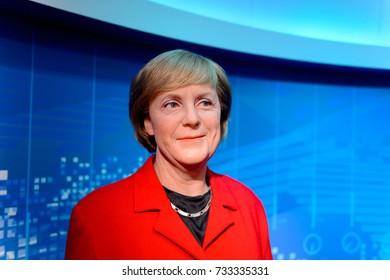 VIENNA, AUSTRIA - OCT 4, 2017: Angela Merkel, the Chancellor of Germany, Madame Tussauds wax museum in Vienna.