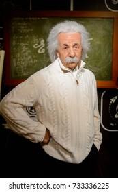 VIENNA, AUSTRIA - OCT 4, 2017:  Albert Einstein, theoretical physicist, Madame Tussauds wax museum in Vienna.