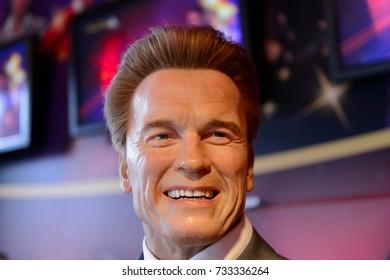 VIENNA, AUSTRIA - OCT 4, 2017: Arnold Schwarzenegger, Austrian actor, former California governor,  Madame Tussauds wax museum in Vienna.