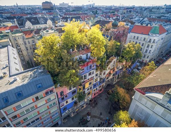 VIENNA, AUSTRIA - OCTOBER 09, 2016: Hundertwasserhaus. This expressionist landmark of Vienna is located in the Landstrase district