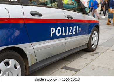 VIENNA, AUSTRIA - OCTOBER 09, 2018: Logo on the New Austrian Federal police car.