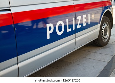 VIENNA, AUSTRIA - OCTOBER 09, 2018: Logo on the local police car.