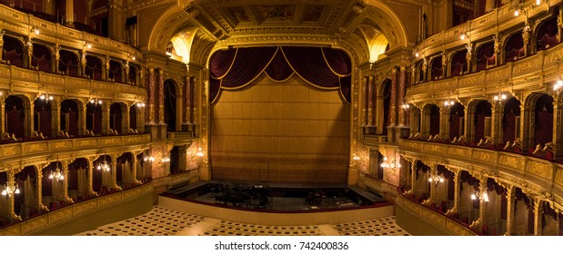 Vienna, Austria - October 10, 2017: The interior of the Vienna State Opera House stage and seating.