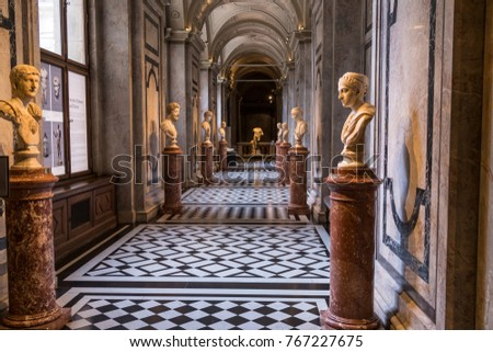 Vienna, Austria - October 10, 2017: Hallway with ancient statues of busts of famous people in Kunsthistorisches fine art history museum in Vienna, Austria.