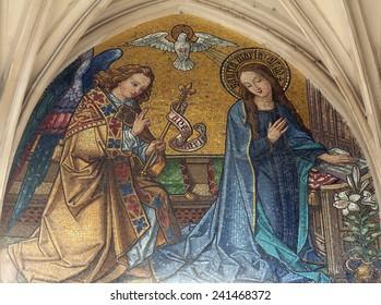 VIENNA, AUSTRIA - OCTOBER 10: Mosaic of Annunciation from main portal of gothic church Maria am Gestade on October 10, 2014 Vienna.