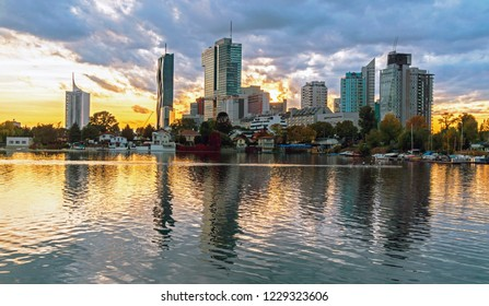 Vienna, Austria - October 11, 2017: Gorgeous sunset reflection of Vienna on the Danube River.