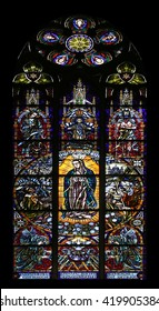 VIENNA, AUSTRIA - OCTOBER 11: Our Lady of Guadalupe, Stained glass in Votiv Kirche (The Votive Church). It is a neo-Gothic church located on the Ringstrabe in Vienna, Austria on October 11, 2014
