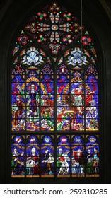 VIENNA, AUSTRIA - OCTOBER 11: St. Severin and St. Martin, Stained glass in Votiv Kirche (The Votive Church). It is a neo-Gothic church in Vienna, Austria on October 11, 2014