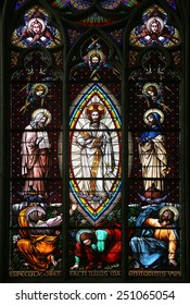 VIENNA, AUSTRIA - OCTOBER 11: Transfiguration on Mount Tabor, Stained glass in Votiv Kirche (The Votive Church). It is a neo-Gothic church in Vienna, Austria on October 11, 2014
