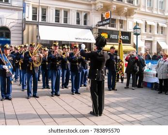 VIENNA, AUSTRIA - OCTOBER 15, 2005: Military brass orchestra plays at street in Vienna on October 15, 2005.