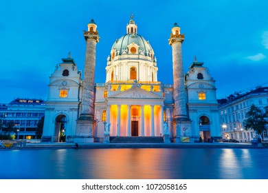 VIENNA, AUSTRIA - October 15 2016: Night view of famous Saint Charles's Church at Karlsplatz in Vienna, Austria