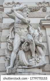 Vienna, Austria - October 15, 2018: Statue of fight of Hercules with a club and Hydra, serpent like water monster from Classical Greek Mythology, Hofburg Palace, outdoor, historical downtown of Vienna