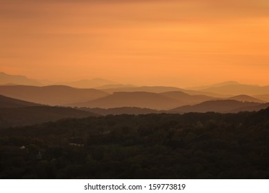 VIENNA, AUSTRIA - OCTOBER 19: Looking west from Kahlenberg into the sunset and towards the Vienna Woods shown on 19 October 2013 in Vienna. The area is densely wooded and popular for recreation.