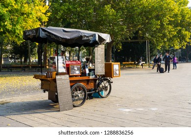 Vienna, Austria, October 19th 2018. The coffee bicycle at the Karlsplatz square