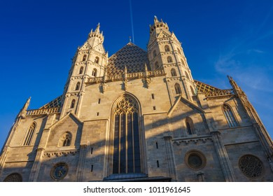 VIENNA, AUSTRIA - OCTOBER 2017: Exterior of St. Stephen's Cathedral (Stephansdom, 1147). Cathedral is mother church of Roman Catholic Archdiocese of Vienna