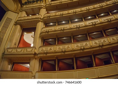 VIENNA, AUSTRIA - OCTOBER, 2017: Interior of Vienna State Opera House. Wiener Staatsoper produces 50-70 operas and ballets in about 300 performance per year. Vienna, Austria, Europe