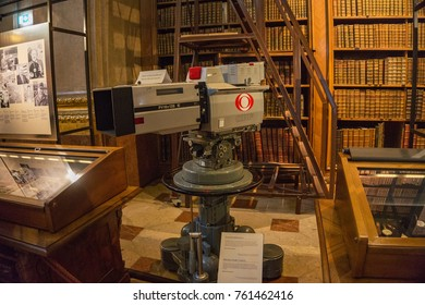 VIENNA, AUSTRIA - OCTOBER 2017: Old historic professional video camera decorates the interior of the Austrian National Library in Vienna, Austria, Europe