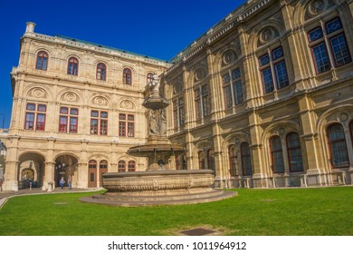 Vienna, Austria - October 2017: Vienna State Opera building (Wiener Staatsoper) was originally called the Vienna Court Opera (Wiener Hofoper), an Austria opera house and opera company based in Vienna