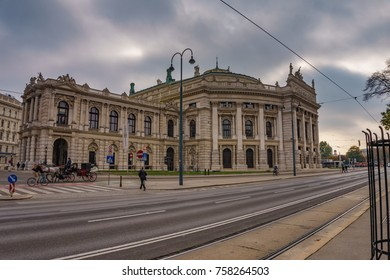 Vienna, Austria - October 2017: View of Vienna State Opera House Staatsoper in the afternoon. Front facade of Burgtheater in Vienna, Austria, Europe.