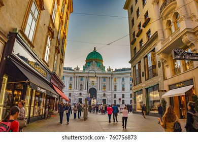 VIENNA, AUSTRIA - OCTOBER 2017: Walking by the crowded streets in the city center of Vienna, Austria. Colorful stores, shops and restaurants at Grabenstrasse. Vienna, Austria, Europe