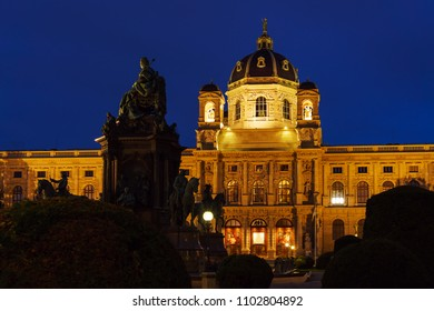 Vienna, Austria - October 22, 2017: Facade of Museum of Art History or Kunsthistorisches Museum (1871-1891) on  Maria-Theresien-Platz at night
