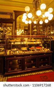 Vienna, Austria - October 22, 2017: Vintage interior of the famous confectionery cafe Demel, the inventor of the Sacher cake