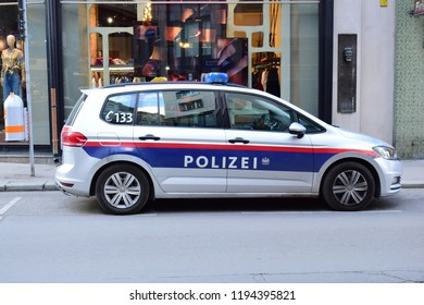 VIENNA, AUSTRIA - OCTOBER 3, 2018: Austrian police car at Vienna city center