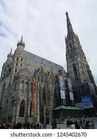 Vienna, Austria - October 3, 2018: St. Stephen's Cathedral is the symbol of Vienna. Construction commenced in the 12th century. Today, it is one of the most important Gothic structures in Austria