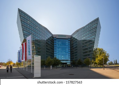 VIENNA, AUSTRIA - OCTOBER 3:  Main building of Siemens AG Austrian company headquarters shown on 3 October 2013 in Vienna. Siemens City is a campus-like complex with space for 6000 employees.