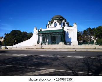 Vienna, Austria - October 4, 2018: OTTO WAGNER HOFPAVILLON HIETZING, the Imperial Court Pavilion at Hietzing station. A striking feature of Vienna's cityscape to this day.