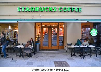 Vienna, Austria - October 6, 2015: A Starbucks coffeehouse in Vienna. Shot taken on October 6th, 2015