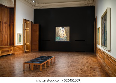 VIENNA, AUSTRIA - SEP 28, 2016: Gustav Klimt, The Kiss, inside the Belvedere palace in Vienna. The construction of the Upper Belvedere began as early as 1717, and was completed in 1723.