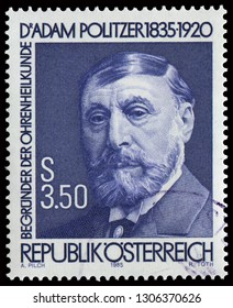 Vienna, Austria - Sept. 12, 1985: Dr. Adam Politzer (1835-1923), Hungarian and Austrian physician and one of the pioneers and founders of otology. Stamp issued by Austrian Post in 1985.