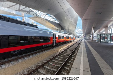 VIENNA, AUSTRIA - SEPTEM 8, 2015: The new Main Railway Station of Vienna with the new OEBB Train Cityjet.