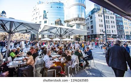 VIENNA, AUSTRIA - September 05 2018: crowded autumn  streets in the city center of Vienna, Austria.Vienna, Austria, Europe