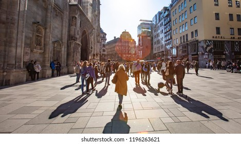 VIENNA, AUSTRIA - September 05 2018: crowded autumn  streets in the city center of Vienna, Austria.Vienna, Austria, Europe