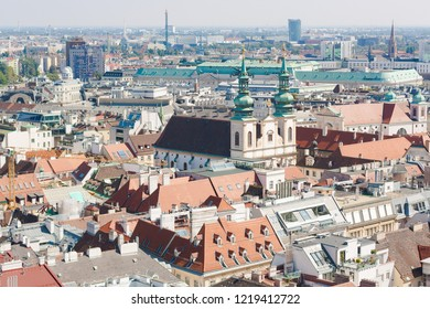 Vienna, Austria, September 09,2018:  Aerial view of Vienna from the stephansdom cathedral.