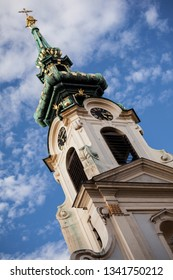 Vienna, Austria - September 10 2013: Beautiful broach of a chapel against blue sky, Vienna