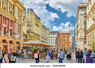 VIENNA, AUSTRIA- SEPTEMBER 10, 2015: Cityscape  views of one of Europe's most beautiful town- Vienna. Peoples on streets, urban life in Vienna. Austria
