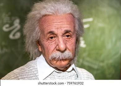VIENNA, AUSTRIA - SEPTEMBER 11, 2016 : Detailed waxwork face view of famous German physicist Albert Einstein, wax sculpture exhibited in Madame Tussauds museum in Vienna.