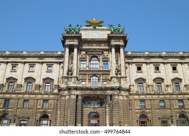 VIENNA, AUSTRIA - SEPTEMBER 13, 2016: Building of Neue Burg (New Castle), part of Hofburg Imperial Palace in Vienna, frontal view of southern part. Recognized UNESCO World Heritage Site.