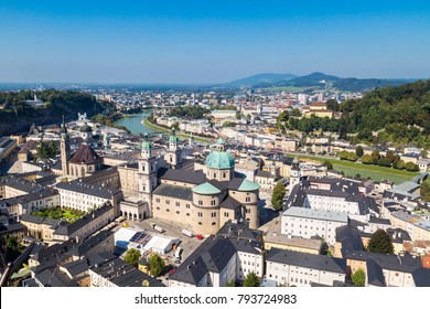 VIENNA, AUSTRIA - SEPTEMBER 13, 2016 : Cityscape view of historic Salzburg city in Austria, old town city center and Salzach river view from castle on blue sky background.