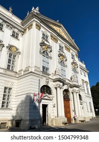 Vienna, Austria - September 15, 2019: Palais Trautson is a baroque palace located at Museumstrasse in the 7th district of Vienna. It was built 1712 by Fischer von Erlach