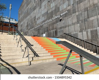 Vienna, Austria - September 15, 2019: Museum of Modern Art (MUMOK) is a Museumsquartier in Vienna. Many tourists and locals pass this art complex to enjoy the art and relax at the coffee houses.