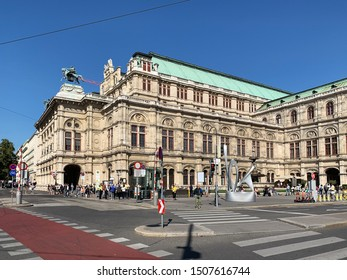 Vienna, Austria - September 15, 2019: The Vienna State Opera is a famous opera house and famous place in Vienna. The Opera house is located on the Ring Strasse near the Kärntner Strasse