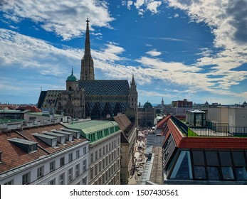 Vienna, Austria - September 16, 2019: Cityscape of  Vienna with St. Stephens Cathedral in the center. This part of Vienna is a travel destinations for many tourists