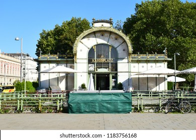 VIENNA, AUSTRIA - SEPTEMBER 18, 2018: Otto Wagner Pavillion at Karlsplatz. Former train station, designed by the famous Austrian architect Otto Wagner, completed in 1898.